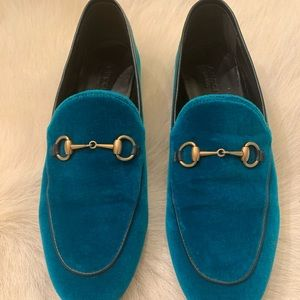 Gucci Velvet Loafer. Beautiful Teal.